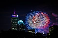 Fireworks in Downtown Boston on July 4
