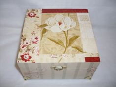 White flower design for wood box.