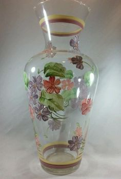 Hand Painted clear glass vase pink and purple flowers-scalloped rim in Collectibles, Decorative Collectibles, Vases | eBay