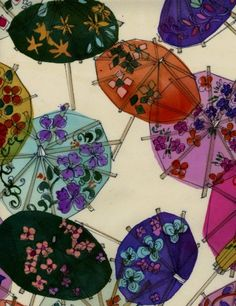 Parasols and colorful umbrellas can give you the shade that you might want at an outdoor event.  The colorful umbrella can also help keep you dry.   Luli Sanchez (fabric/textiles)