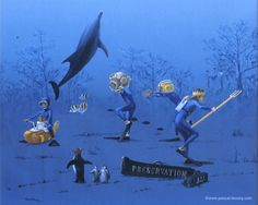 "CARRY ON DOWN- oil on canvas by Pascal Lecocq, The Painter of Blue ®, detail bottom, 150,7x96x5 38""x20"", 2000, lec582, priv.coll. Chico, CA ©pascal lecocq www.pascal-lecocq.com. #yellowsubmarine #preservationhall #neptun #art #blue #painterofblue #painting #painter #artist"