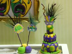 Mardi Gras Cake Miniature 3-Layer Party Cake by JansPetitPantry on Etsy