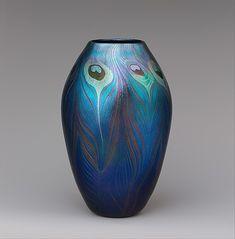 Tiffany Studios, New York, Iridescent Favrile Glass Peacock Pattern Vase.