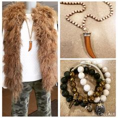 #OOTD: Fur Real?! Genuine Tibet Lamb Linda Richards fur vest, Popcorn Cashmere sweater from Cashmere Studio, Camo Hudson Jeans, beaded necklace, and Blessings In Disguise Emily Bracelets #shopfayes #shoplocal
