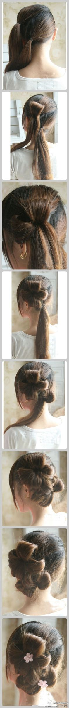 Wow, the things you can do with a simply pony tail! I wish my hair was still real long.  Gonna have to grow it out.