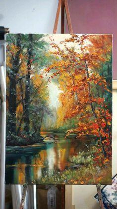Acrylic Art, Acrylic Painting Canvas, Canvas Art, Canvas Size, Landscape Art, Landscape Paintings, Landscapes To Paint, Art Paintings, Autumn Painting