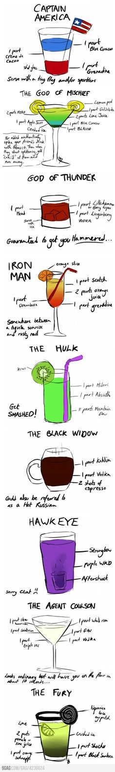 AVENGERS COCKTAILS @superwhit2003 we should make these in secret at your bachelorette :)