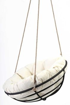 With three hanging ropes and appropriate accessory kit, your old papasan bowl can be hung from any appropriate point. Enjoy your new hanging papasan chair! Hanging Papasan Chair, Hammock Chair, Swinging Chair, Diy Chair, Indoor Hanging Chairs, Hanging Swing Chair, Indoor Swing, Swing Seat, Swivel Chair