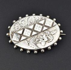 Victorian Silver Flower Brooch,Sweetheart Pin 1800s  #Sterling #Brooch #Silver #Victorian #Flower #Georgian #Greek #Bakelite #Turquoise #Rings
