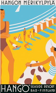 1930, Hangö Seaside Resort, Finland vintage beach travel poster