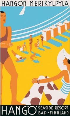 1930, Hangö Seaside Resort, Finland vintage beach travel poster