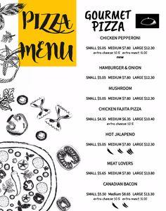 Copy of Pizza Menu Card Template Pizza Menu Design, Menu Card Design, Menu Card Template, Menu Templates, Fajita Pizza, Mushroom Chicken, Restaurant Branding, Meat Lovers, Chicken Fajitas