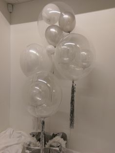 Cherry Venue Dressers - Your Event Made Special Clear Balloons, White Balloons, Balloon Decorations, Birthday Decorations, All White, Sweet 16, Chandelier, Ceiling Lights, Silver