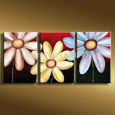 3 panels/set Canvas Painting sun flower cheap modern oil painting Home wall decoration canvas art wall pictures (Mainland)) Multi Canvas Painting, Multi Canvas Art, Modern Oil Painting, Diy Canvas Art, Diy Painting, Canvas Paintings, Online Painting, Paintings Online, Acrylic Art
