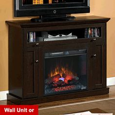 "Windsor 23"" Oak Espresso Media Console Electric Fireplace Cabinet Mantel Package - 23DE9047-PE91"