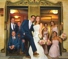 Fun bridal party shot in elevators! Click to view more of this romantic elegance Nashville wedding inspiration, photographed by High Gravity Photography!   The Pink Bride www.thepinkbride.com
