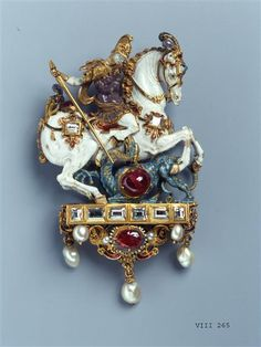 Pendant with St. George slaying the dragon    Germany, late 16th Century