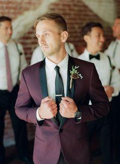 deep plum tux for the groom