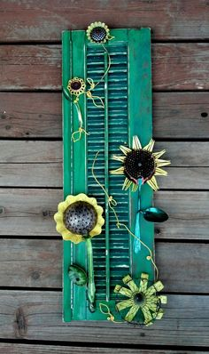 Salvaged Garden Sunflower Yard Art . Made with Vintage Recycled Parts. Mixed Media Assemblage for outdoors.