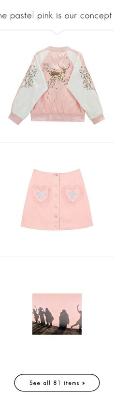 """""""the pastel pink is our concept ❀"""" by kanadei ❤ liked on Polyvore featuring outerwear, jackets, tops, coats & jackets, pink jacket, embroidered bomber jackets, zipper jacket, bomber style jacket, embroidered jacket and skirts"""