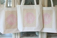 6 FRESH CHEVRON Tote Bag Gift bags by ModernVintageMarket on Etsy