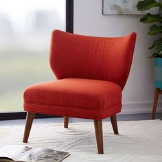 Retro Wing Chair #westelm I like this in Boucle Horseradish.  Not as 'open' as I was originally thinking, but it's small scale could work well.  Like that it's armless too (less visual space)