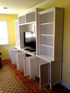 Homemade media cabinet, all separate pieces... big look for small cost