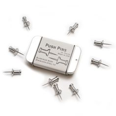 Exclusively for Pedlars by The Museum of Useful Things, MA, USA - Push Pins    20 Push Pins with aluminium body and stainless-steel tip. Made in the USA. 6.95 Pounds