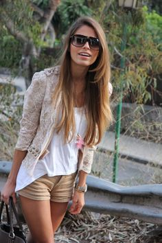shorts & lace blazer