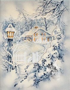 Vintage Cottage with Lamp Post Christmas Greeting Card
