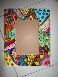 Beautiful wooden frame painted by water base glass colour and outliner. Mirror Painting, Dot Painting, Painting Frames, Painting On Wood, Cardboard Frames, Wood Framed Mirror, Mosaic Crafts, Mandala Painting, Collaborative Art
