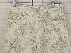 Talbots 6 Ivory Jeans Pants Beige Floral Straight Tapered Leg #Talbots #CasualPants
