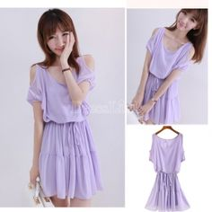 Women's Chiffon Short Sleeve Round Collar Mini Dress Purple