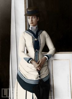 tinted photo of Queen Alix in a sailor suit!