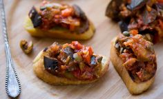 NYT Cooking: Caponata is a Sicilian sweet and sour version of ratatouille. Because eggplant absorbs flavors like a sponge, it's particularly… Antipasto, Vegetarian Recipes, Cooking Recipes, Healthy Recipes, Eggplant Caponata, Eggplant Dishes, Le Chef, Italian Recipes, French Recipes