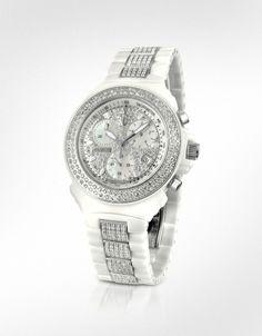 Lancaster  White Pillo Ceramic Chrono Diamonds De Luxe Watch  Uh, Gorgeous!!!