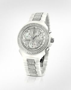 Lancaster  White Pillo Ceramic Chrono Diamonds De Luxe Watch  Uh, Gorgeous!!!