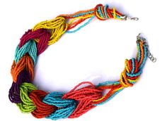 A Handmade beaded necklace with multicolored beads.  -www.cooliyo.com
