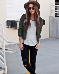 These ripped flying monkey jeans paired with an olive bomber adds the perfect edge to any outfit.