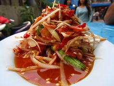 Get the extinguisher - this Thai papaya salad is on fire!