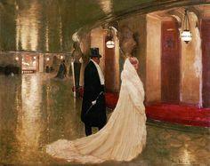 An elegant couple entering a box at the Paris Opera. (Jean-Georges Béraud - 1907)