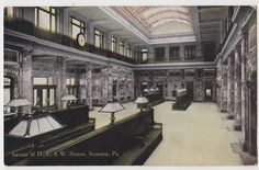 C1910 Interior,  D L & W Station.  I remember sitting in these benches waiting for my Nana to arrive by train from NYC.