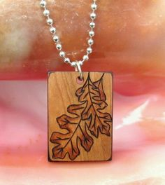 Pair of Oak Leaves on Cherry Wood Pyrography by ArtAfire on Etsy