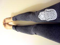Hamsa Leggings Hand of Fatima Charcoal Grey Yoga Fitness Workout Running Tights Meditation Spiritual Pants Gift Ideas by GrahamsBazaar on Etsy https://www.etsy.com/listing/220965682/hamsa-leggings-hand-of-fatima-charcoal