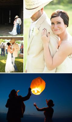 Between their beautiful attire to floating lanterns; this couple celebrated their country roots while still creating their own style. Moon Wedding, Wedding Pictures, Wedding Bells, Dream Wedding, Wedding Stuff, Jeans Wedding, Outdoor And Country, Floating Lanterns, Country Style Wedding