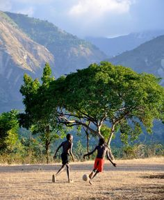 Haiti... my strongest memory is of kids playing soccer anywhere & everywhere.