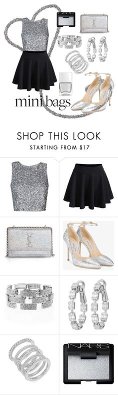 """Glitter mini bag"" by cecilvenekamp ❤ liked on Polyvore featuring WithChic, Yves Saint Laurent, Jimmy Choo, Venus, Cole Haan, NARS Cosmetics and Nails Inc."