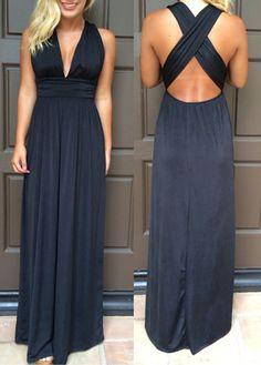 Black Cross Back Maxi Dress