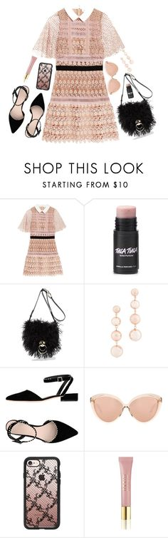 """Embrace Pink Lace!"" by prettynposh2 ❤ liked on Polyvore featuring self-portrait, Diane Von Furstenberg, Rebecca Minkoff, Loeffler Randall, Linda Farrow, Casetify, AERIN, Pink, diane and loeffler"