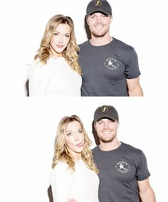 Stephen Amell and Katie Cassidy #SDCC // He's like me! He has no idea what to do during silly pictures, so he just smiles and looks exactly the same! XD <3